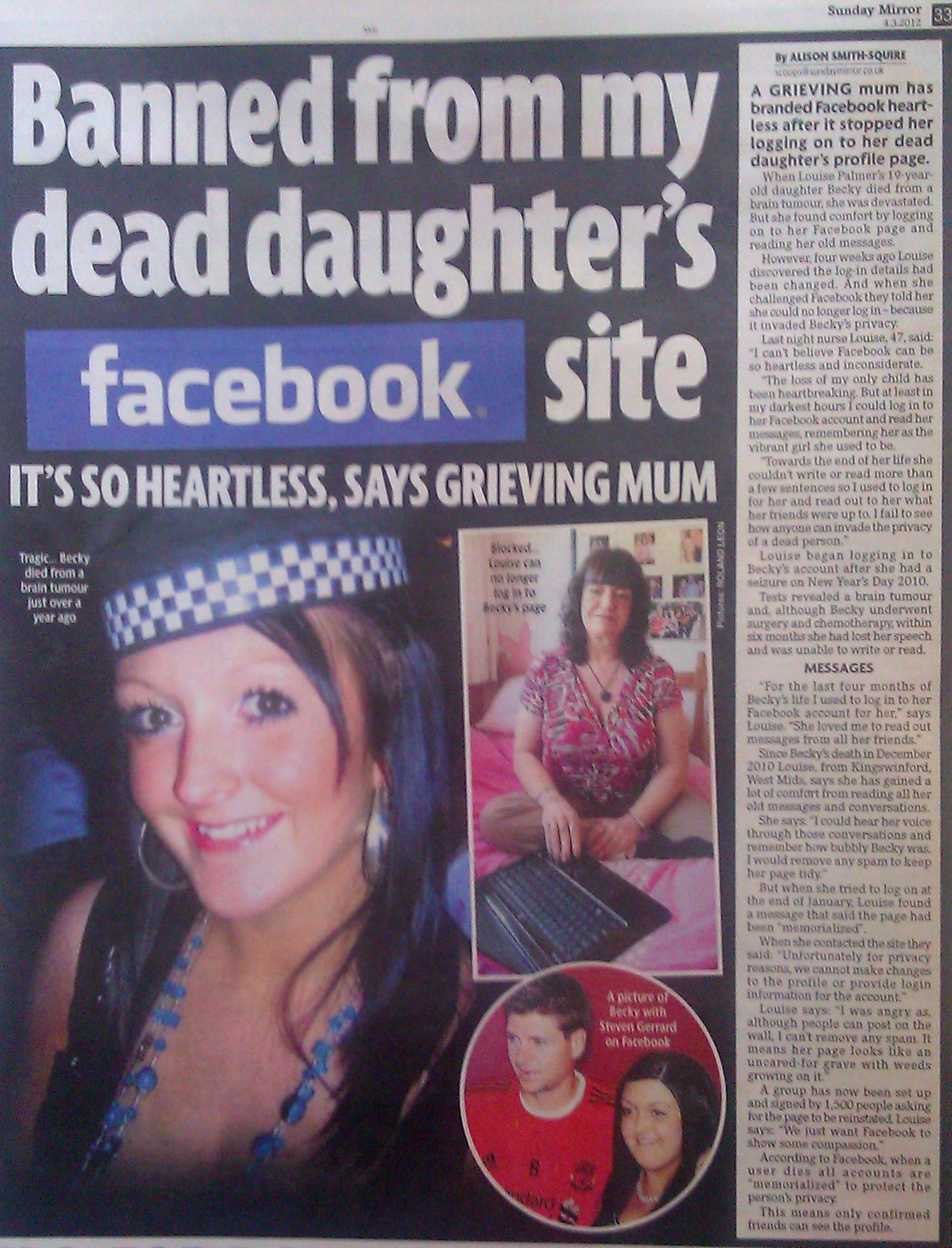 Louise Palmer - mum brands Facebook heartless