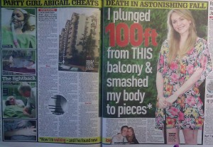 Abigail Barragry fell 100ft from a balcony
